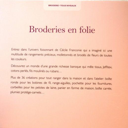 """""""Broderies en folie"""" aux éditions """"Le Temps Apprivoisé"""" de Cécile Franconie."""