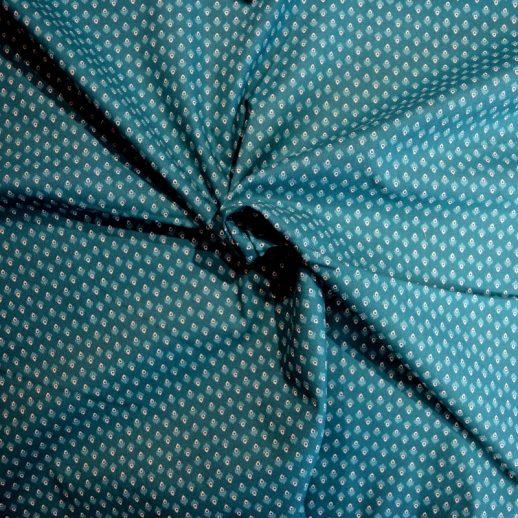 coton imprimé bleu canard