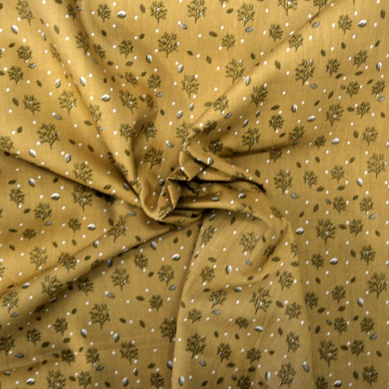 tissu coton moutarde