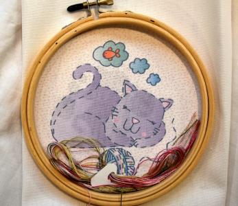 Kit broderie enfant «le chat»